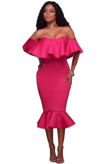 Rosy Ruffle Off Shoulder Mermaid Midi