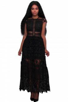 Black Lace Hollow Out Long Party Dress