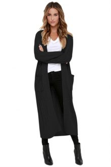 Black Knit Long Cardigan Sweater