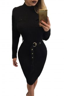 Black High Neck Midi Dress