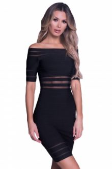 Black Dress with Mesh Inlay Details