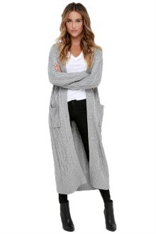 Grey Knit Long Cardigan Sweater