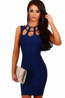 Navy Blue Cage Top Bandage Mini Dress