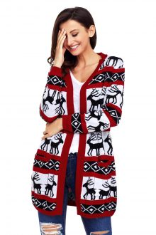 Red White Reindeer Christmas Cardigan