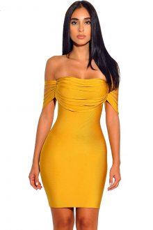 Yellow Fringe Off Shoulder Bandage Dress