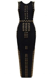 Black Maxi Metal Studded Sleeveless Round Neck