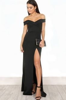 Black Maxi Off Shoulder Short Sleeves Bandage Dress