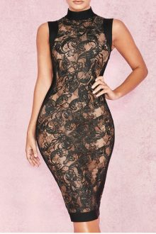Black Round Neck Lace Bodycon Dress