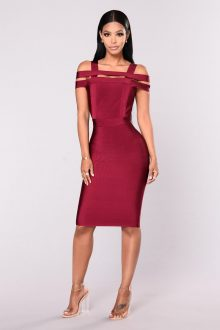 Burgundy Off Shoulder Caged Back Detail Bandage Dress