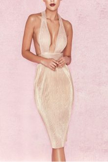 Nude Strapy Sleeveless Bodycon Dress