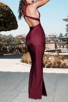 Wine Maxi Side Silted Backless V Neck Sleeveless