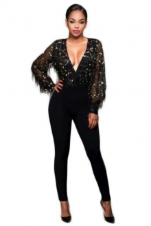 Black Long Sleeve Sequined Bandage Jumpsuit