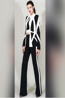 Black Round Neck Sleeveless 2 Piece Bandage Suit