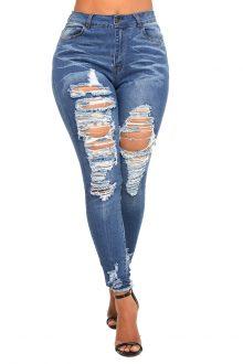 Adeline Blue Mid Rise Skinny Denim Jeans