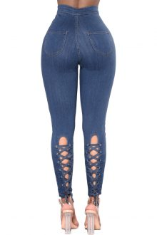 Alice Blue High Waist Lace up Jeans