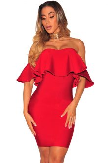 Red Ruffle Off Shoulder Bandage Dress