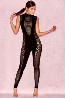 Black Hollow Fishnet Sleeveless Bandage Jumpsuit