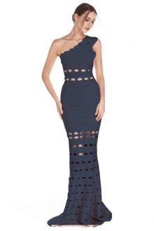 Blue Maxi Cut Out One Shoulder Sleeveless Bandage Dress