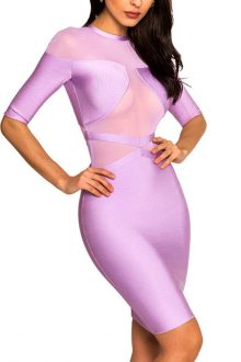 Purple Mesh Short Sleeves Round Neck Bandage Dress