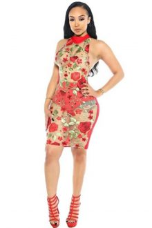 Red Mesh Flower Sleeveless Bandage Dress