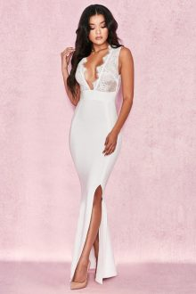 White Sleeveless V Neck Maxi Bandage Dress