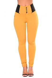 Yellow Buttoned Waist Patched Leggings