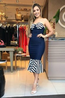Blue Stripe Off Shoulder Midi Bandage Dress
