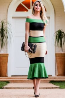 Green Black Nude Off Shoulder Bandage Dress