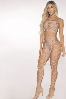 Nude 2 Pieces Lace Up Off Shoulder Sleeveless Bandage Set