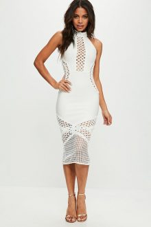 White Midi Sleeveless Round Neck Hollow Out Bandage Dress