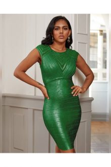 Green Round Neck Striped Bandage Dress
