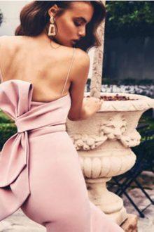 Pink Sleeveless Back Bowknot Midi Dress