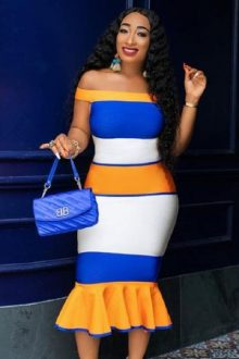 Orange Blue White Off Shoulder Bandage Dress