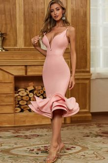 Pink Fishtail Over Knee Sleeveless Strappy Bandage Dress