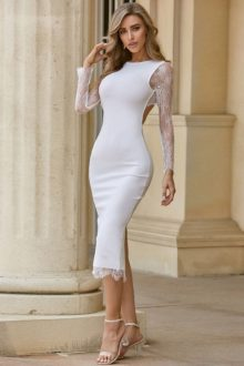 White Back Lace Over Knee Long Sleeve