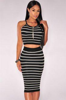 Black Striped Knit Midi