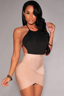 Nude Bandage Arched Skirt