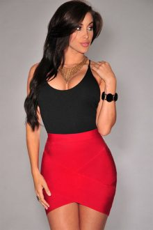 Red Bandage Arched Skirt