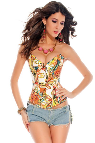 Multicolored Denim Corset