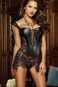 Faux Leather Lace Corset