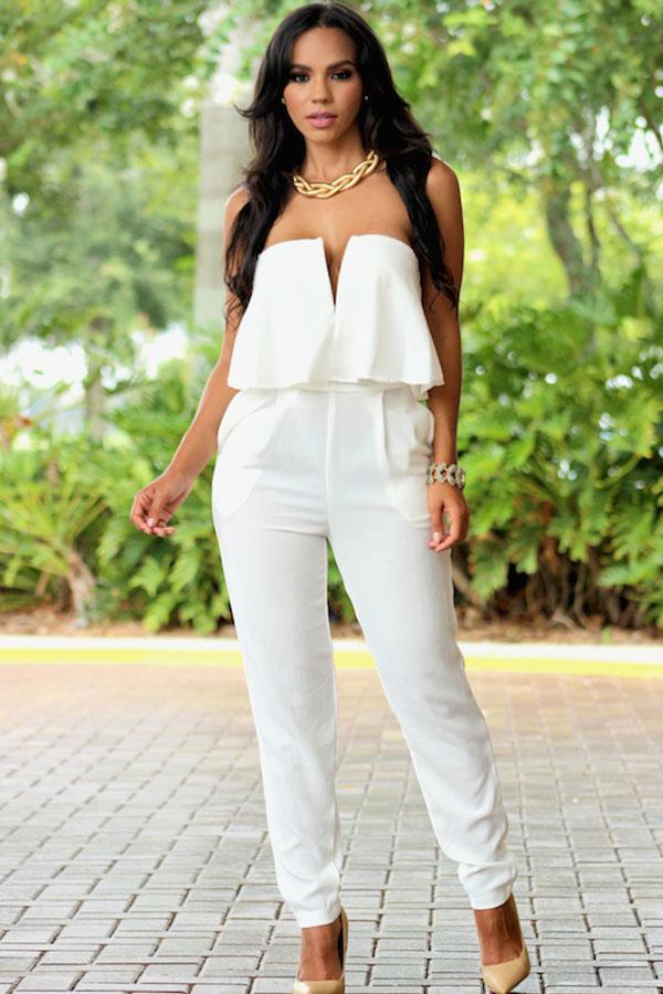 066f41a92992 White Ruffle Strapless – Charming Wear