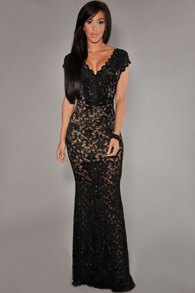 f4a9c15d727 Black Lace Nude Illusion Dress – Charming Wear