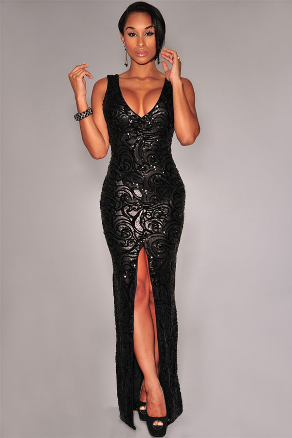 Black Sequined Front Slit Padded