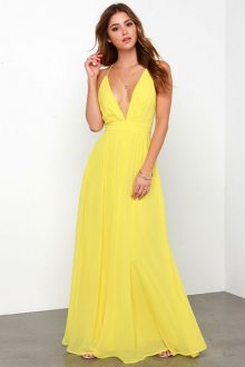 Yellow Crossing Spaghetti Straps Chiffon Dress
