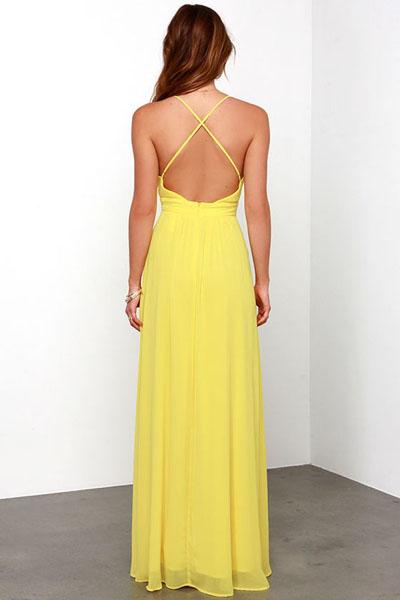 Yellow Crossing Spaghetti Straps Chiffon Dress