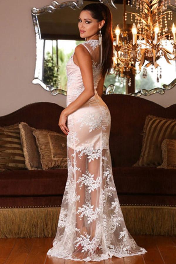 White V Neck Lace