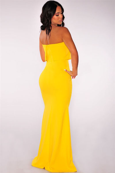 Yellow Plunging Strapless