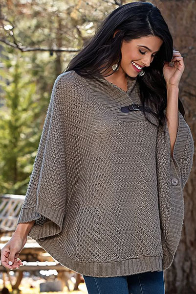 Buckle Sweater Poncho