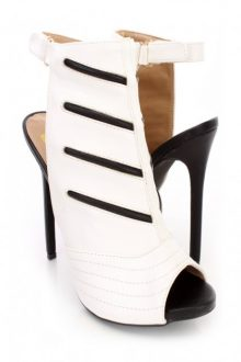 White Black Peep Toe
