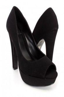 Black Peep Toe Chunky